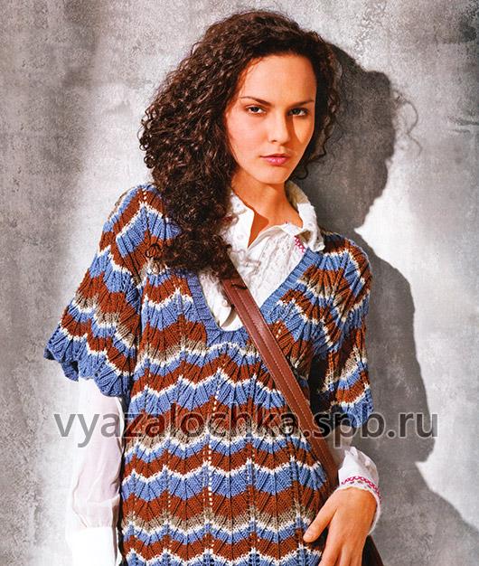 Полосатый пуловер с короткими рукавами