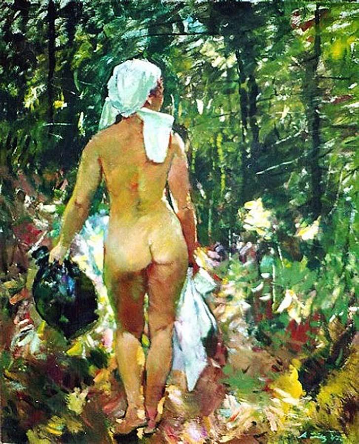 Спиной, обнажённая в лесу.(1947) Антон Лутц (1894-1992) Австрия