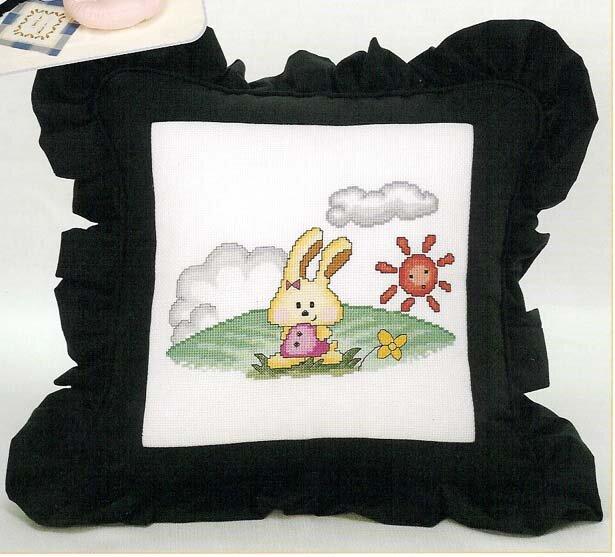 Вышивка крестом, схемы Детский рисунок на подушку.