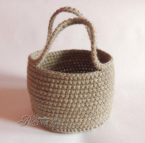 roventa-handmade, croheted basket, crochet, вязаная корзина, корзинка, корзинка крючком, корзина из джута