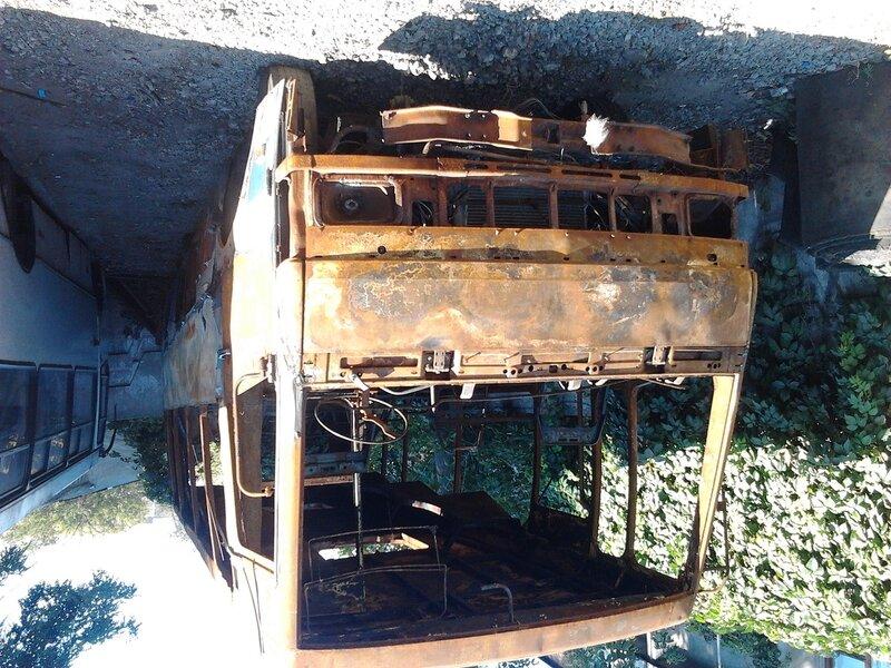 Как выглядит сгоревший автобус