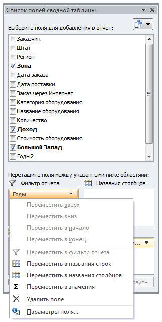Рис. 4.16. Раскрывающееся меню области диалогового окна Список полей сводной таблицы содержит весьма скромный набор команд
