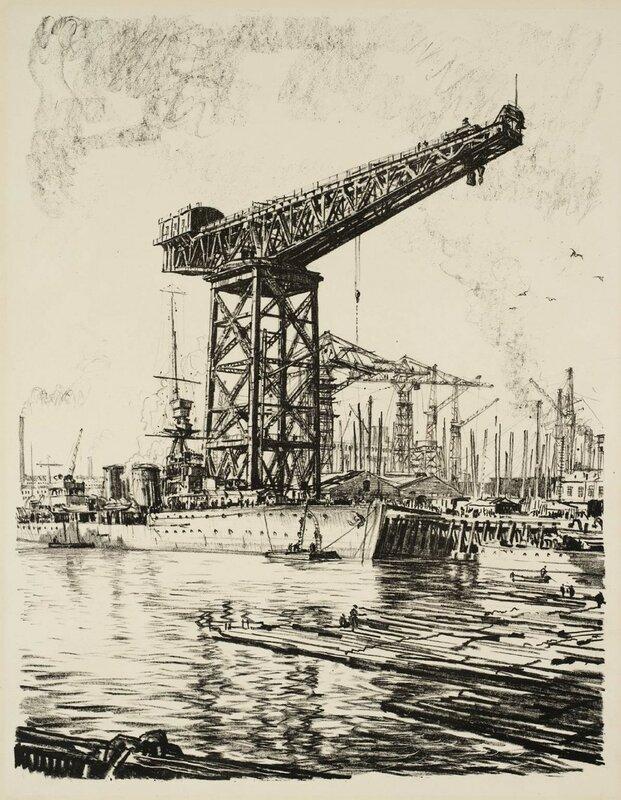 Building Ships: A Fitting Out Basin circa 1917 by Sir Muirhead Bone 1876-1953