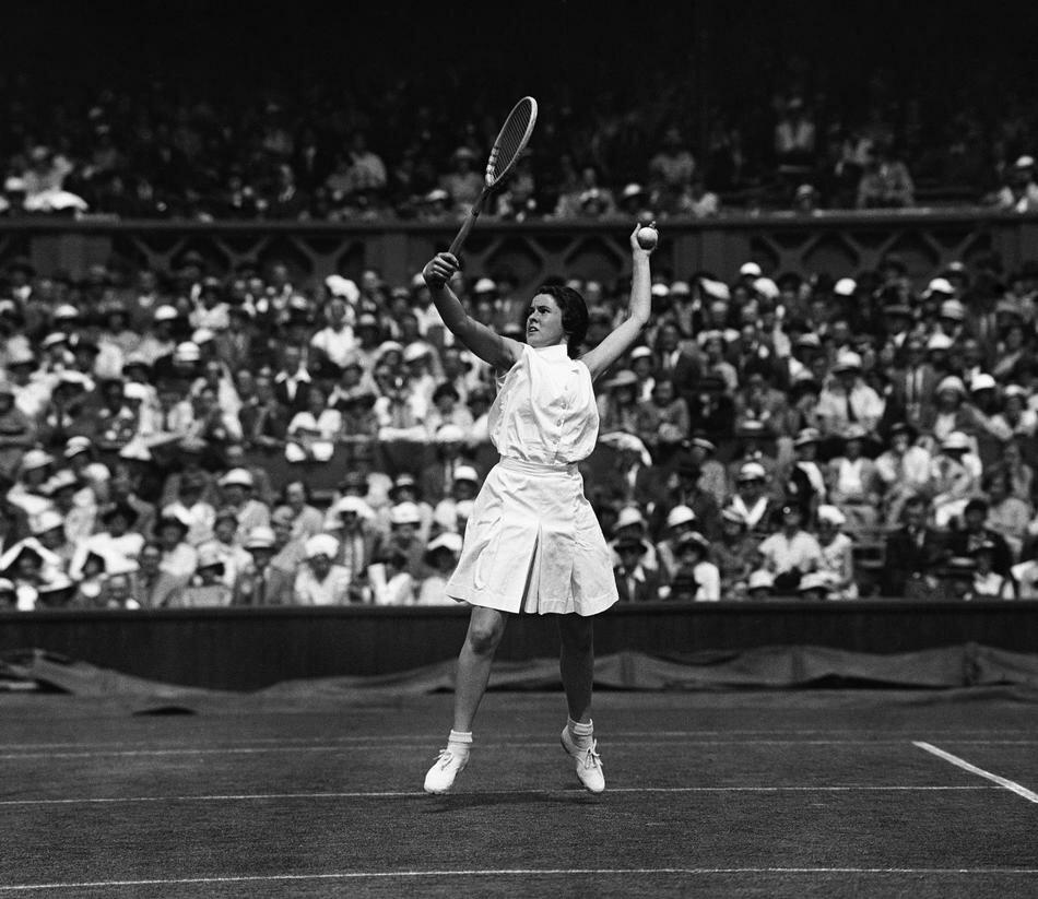 American tennis player Sarah Palfrey at Wimbledon, London on July 3, 1934