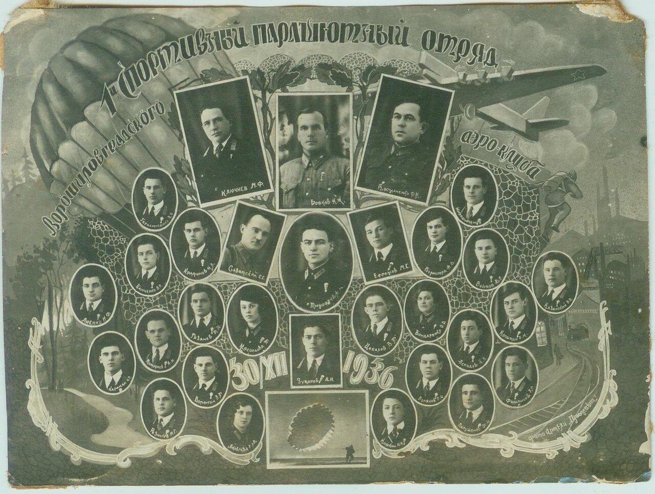 1936. Ворошиловград. 1 Спортивный Парашютный отряд