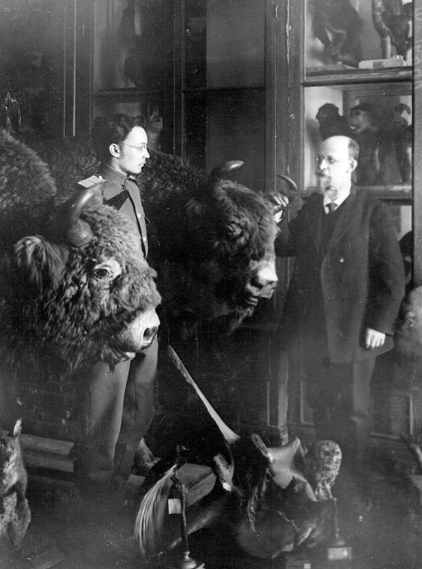 37. Профессор Н.А.Холодковский и слушатель академии в Зоологическом музее