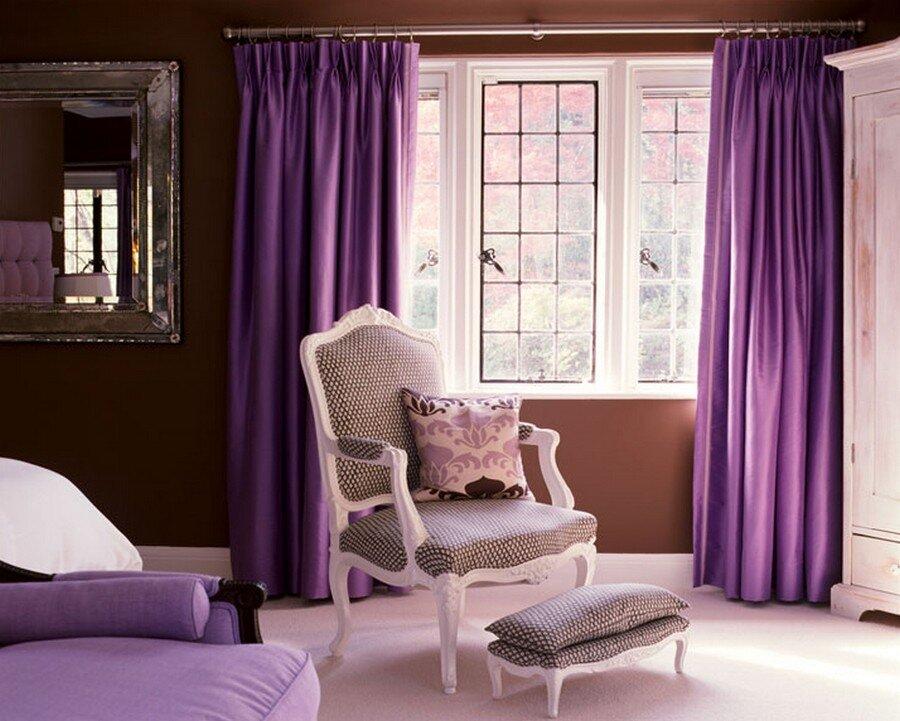 Сиреневые шторы для спальни.