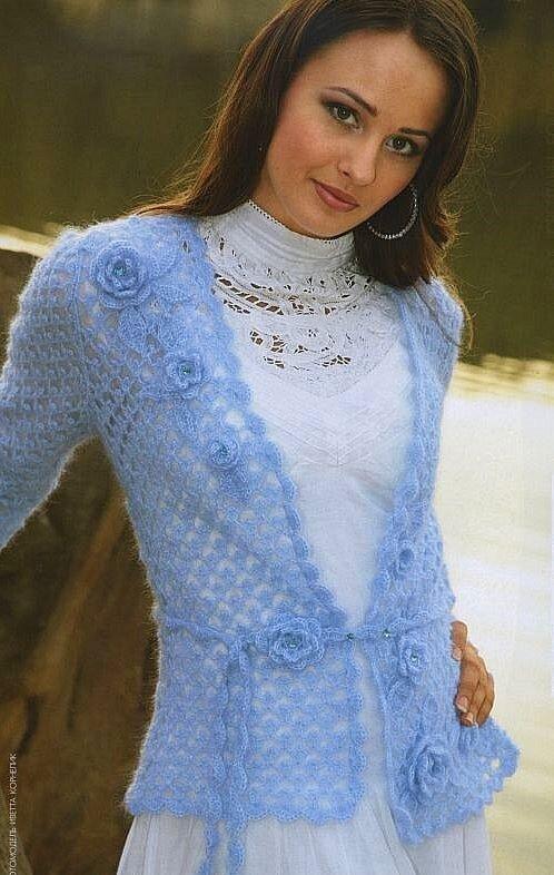 Мохеровый голубой жакет Вязание крючком Для вязания жакет вам нужно : 200г голубой пряжи в две нитки (80% мохера и 20...