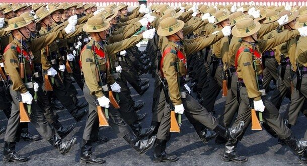 Soldiers march during the Army Day parade in New Delhi