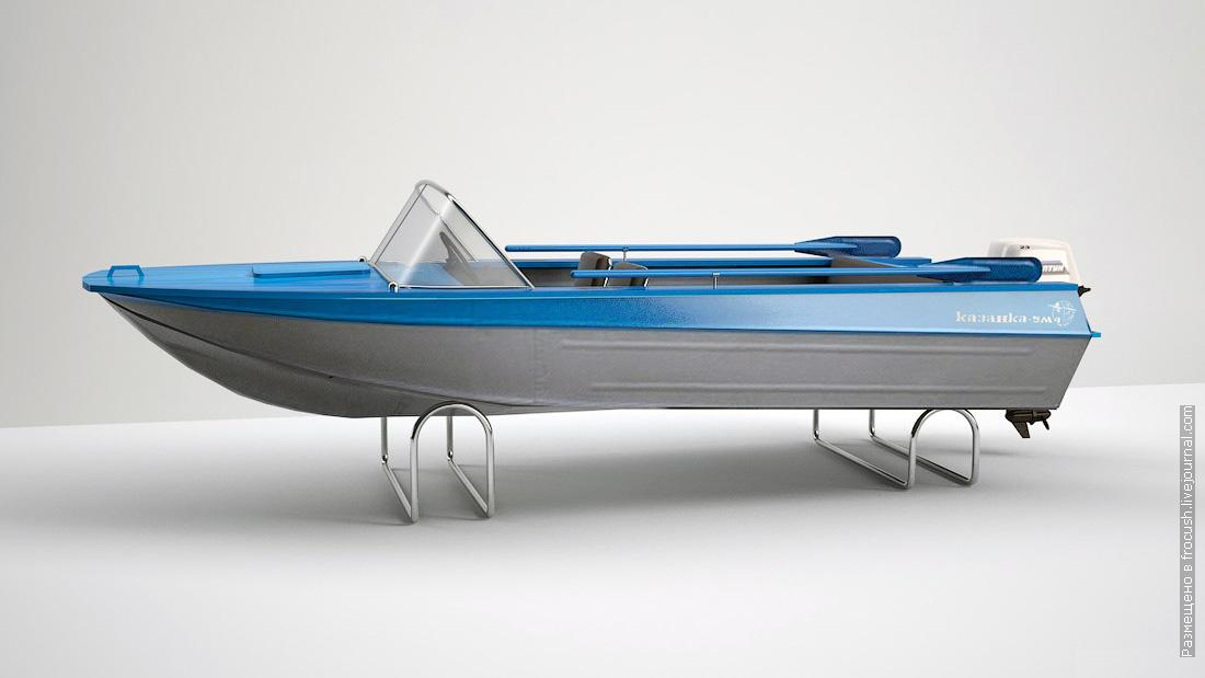 компьютерная 3D модель моторная лодка Казанка