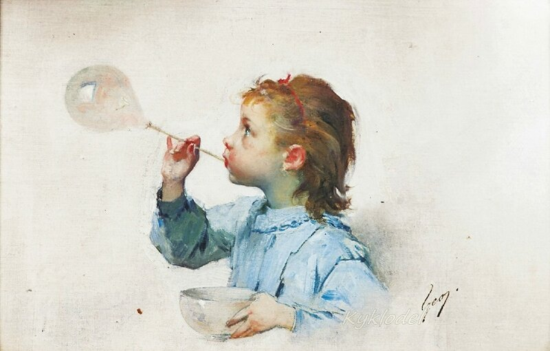 Henry Jules Jean Geoffroy (French, 1853 - 1924) «Blowing bubbles»
