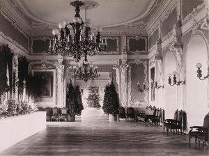 Вид части одного из [залов] в здании Благородного (Дворянского) собрания, подготовленного к [праздничному ужину] в честь торжества коронации.
