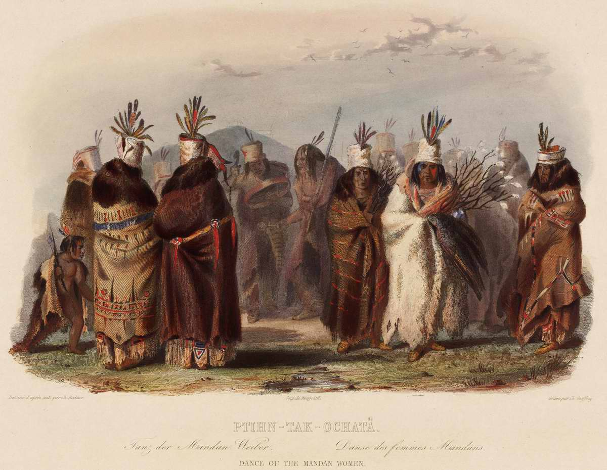 Танец индейских женщин из племени манданов - Karl Bodmer