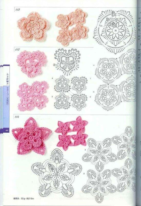 Описание: схема вязания крючком цветов кружево.