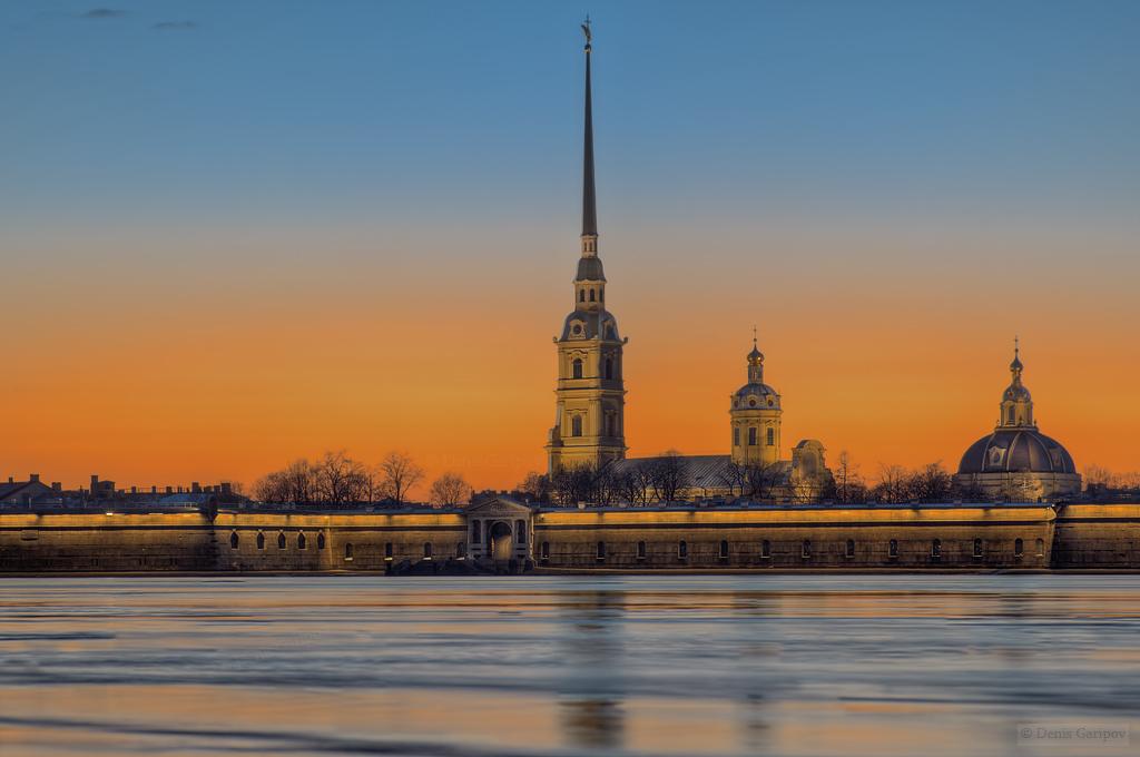 весна, Нева, закат, лёд, Петропавловская крепость