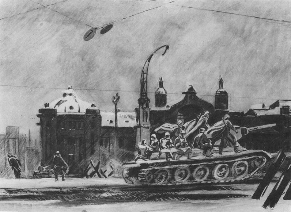 Дейнека, 1946-47 Танки идут на фронт. Белорусский вокзал.
