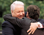 RUSSIAN PRESIDENT YELTSIN HUGS GERMAN CHANCELLOR SCHROEDER IN COLOGNE