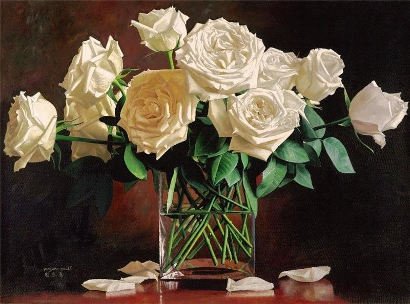 """Схема вышивки  """"Белые розы """": схема."""