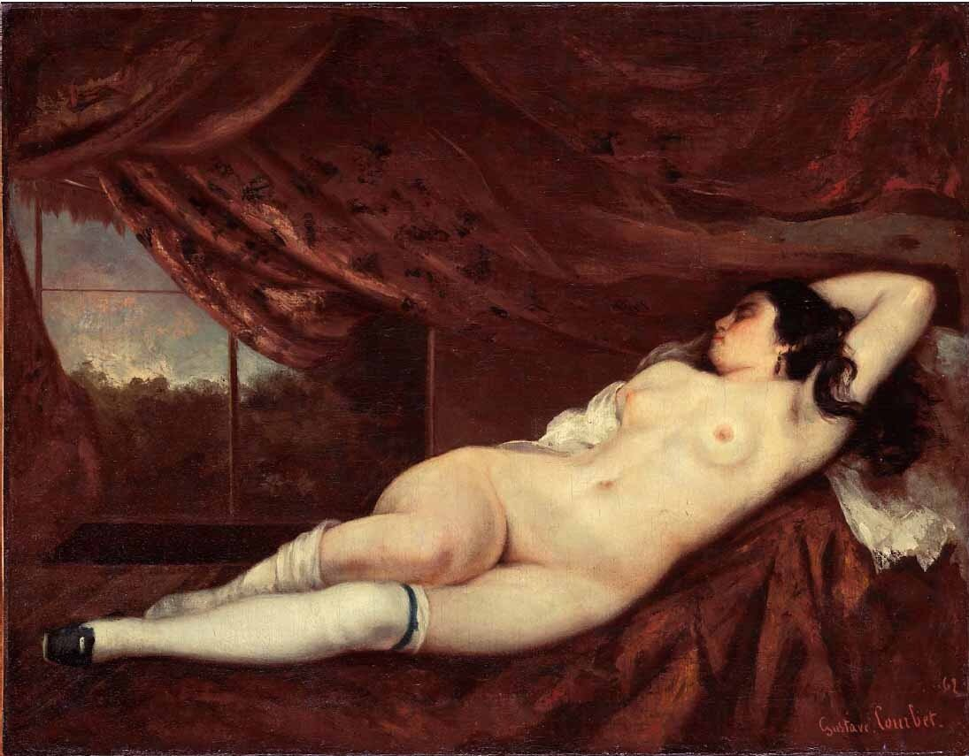 Курбе Гюстав, Лежащая обнажённая, 1862 г.   Courbet Gustave,_Femme_nue_couchée,_1862. (Nude Reclining Woman)http://veniamin1.livejournal.com/profile