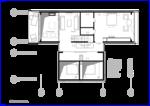 Следующая иллюстрация  План жилого дома, Мансарда, Mod 6х18 5х8 Жилой дом особняк 6х18 5х8 кв. метров, в отделке предполагается использовать деревянные панели эвкалиптового дерева.
