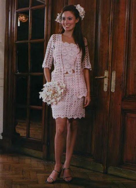 Вязанное свадебное платье