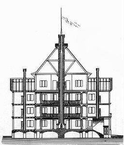 Охотничий домик, архитектор Карл Фридрих Шинкель, разрез