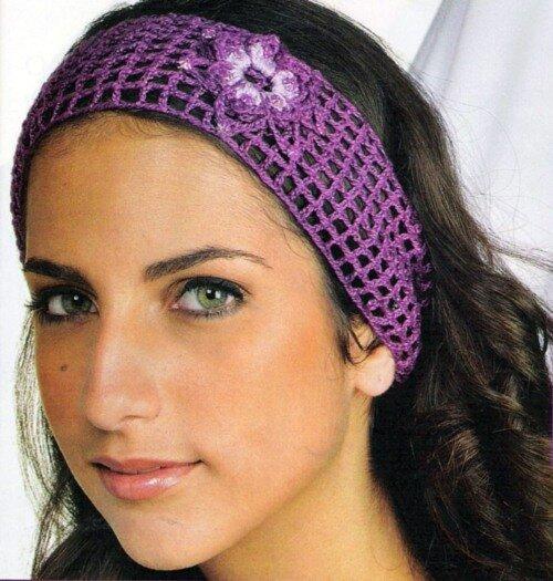 Фиолетовая повязка на волосы с