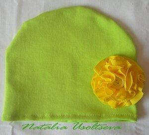 шапочка с текстильным цветком_рибана