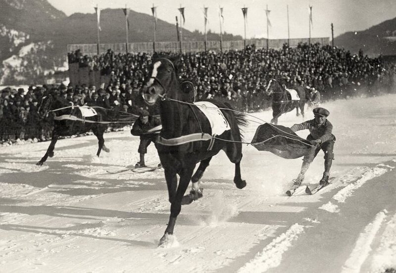 Winter sports.Vintage photo