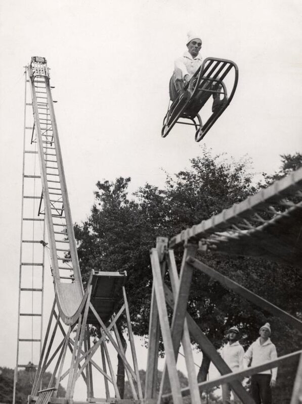 Winter sports.Vintage photo
