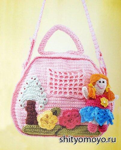Вязание для детей крючком схемы и модели: розовая детская сумочка