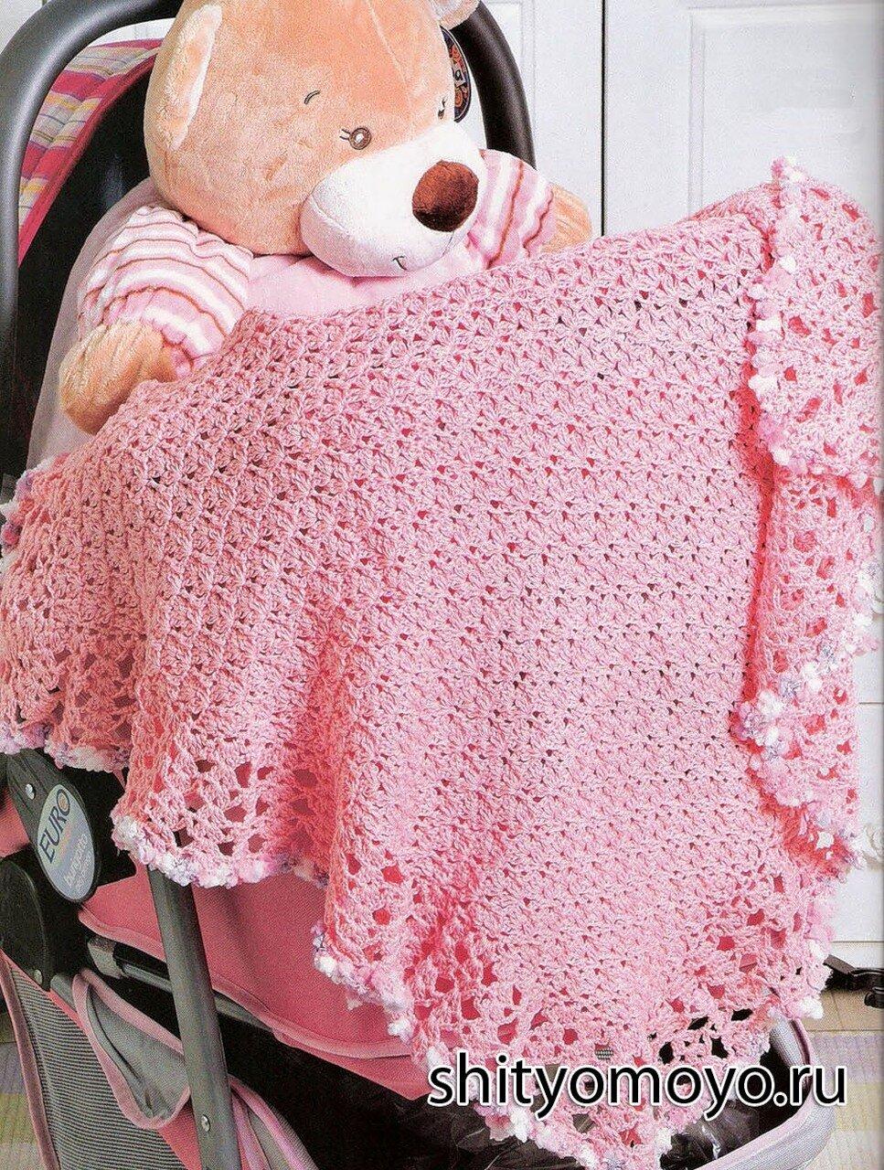 """Детский плед связан крючком из хлопковой пряжи розового цвета узором  """"веер """".  Украшает плед ажурная оборка и обвязка..."""