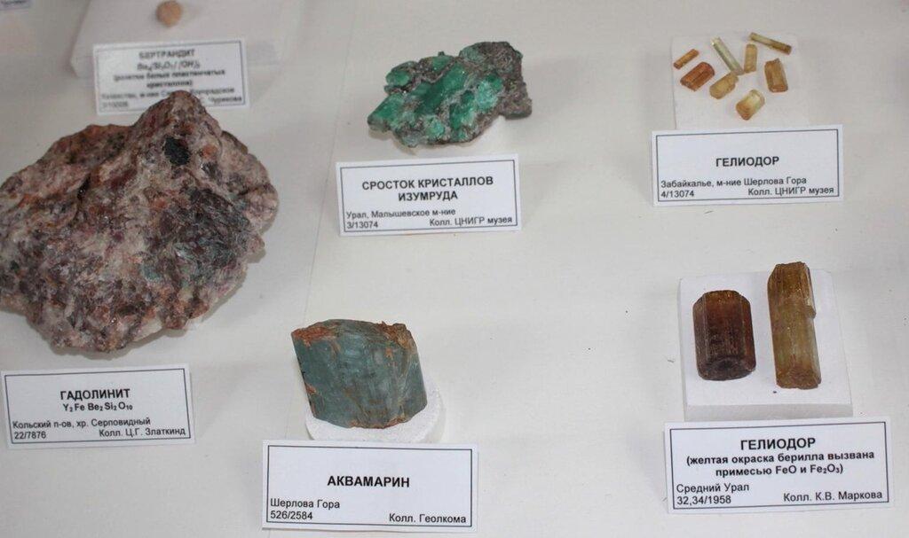 Гадолинит; сросток кристаллов изумруда; аквамарин; гелиодор; гелиодор (жёлтая окраска берилла вызвана примесью оксидов железа)
