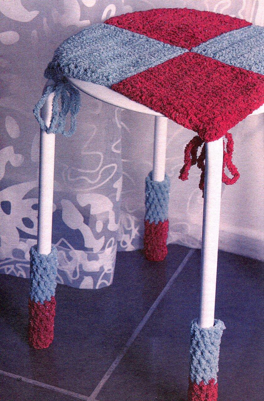 Оригинальные идеи для вязания чехлов на табуретки фото