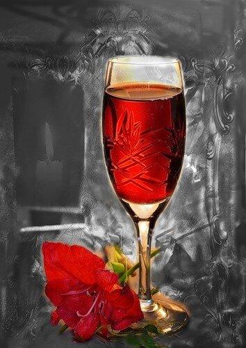 В красных тонах: вино и цветок