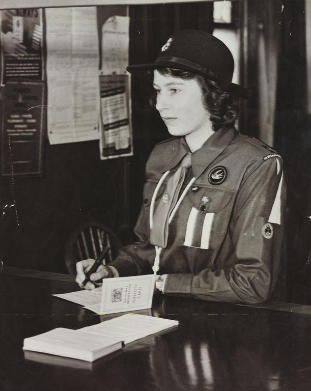 HM Queen Elizabeth II (b. 1926) when Princess Elizabeth, registering at a Labour Exchange  5 May 1942