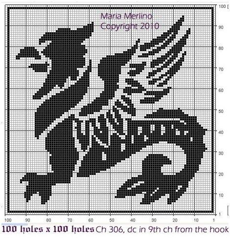 Схемы филейного вязания драконов будут весьма кстати для вязания крючком и спицами или вышивки.  ФИЛЕЙНОЕ ВЯЗАНИЕ.