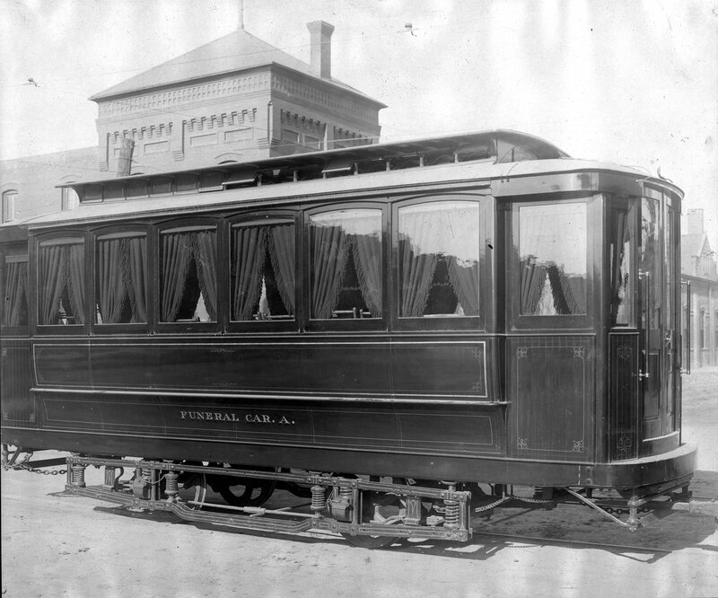 Denver Tramway Company 'Funeral Car. A.' parked at 35th and Gilpin in Denver, Colorado, between 1900 and 1905