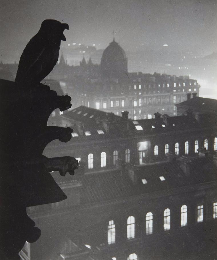 1933. Ночной вид из Нотр-Дам на Отель-Дьё