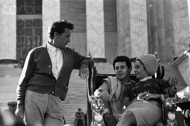Elizabeth Taylor with Burton and Fisher