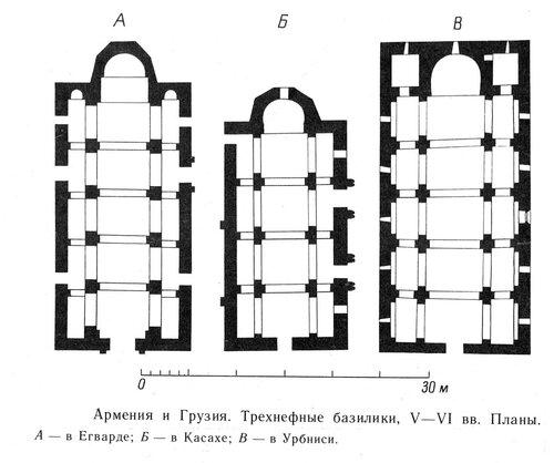 Планы трехнефных базилик Армении и Грузии V-VI вв.