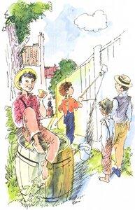 Рисунки тома сойера как он красит забор
