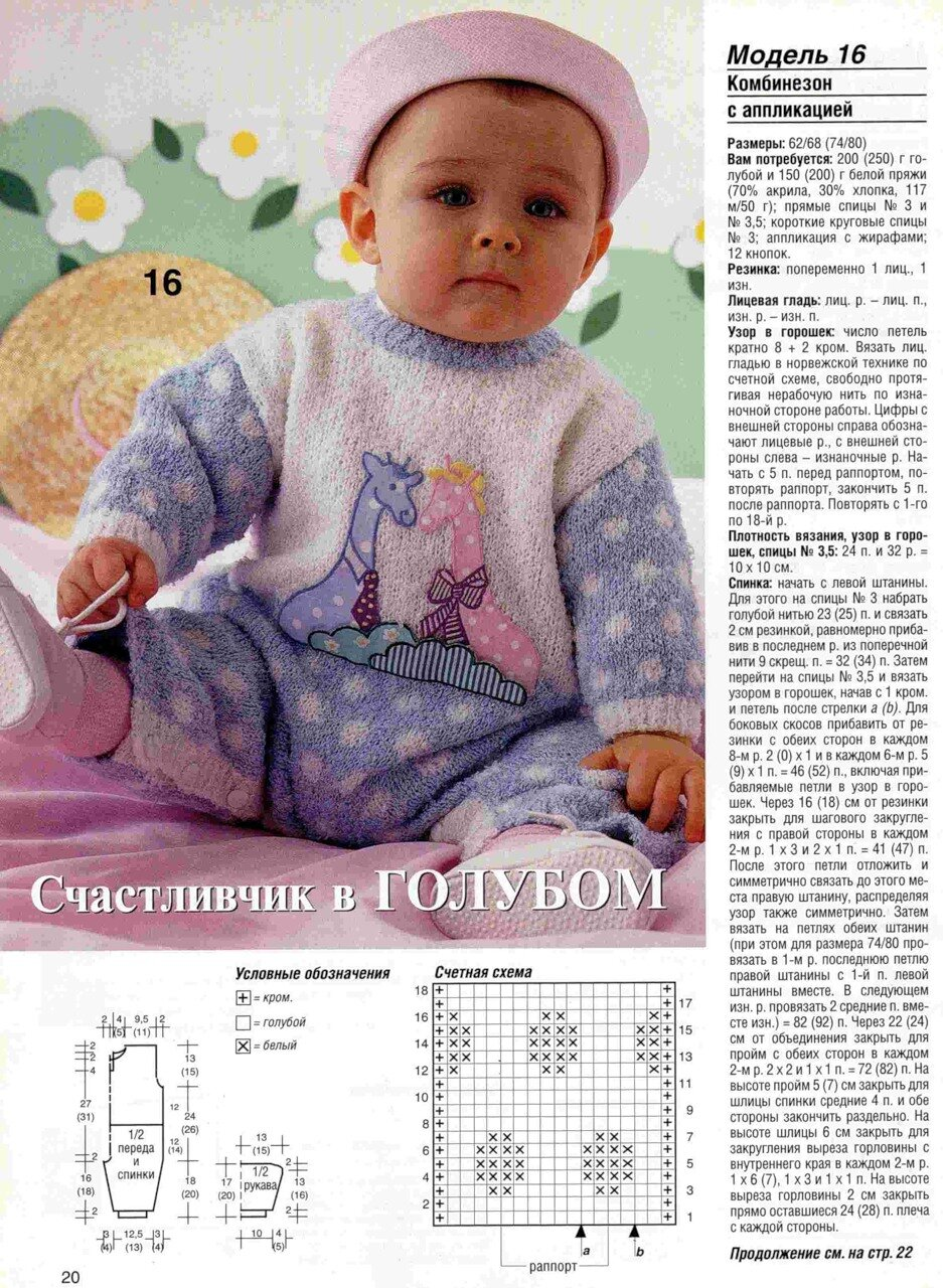 как связать на спицах двухцветный комбинезон на малыша до года: описание (начало), схема узора, выкройка