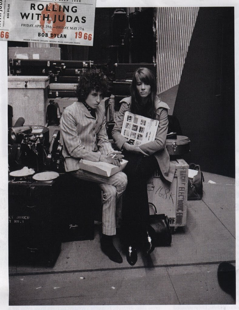 Françoise Hardy meeting Bob Dylan, backstage at l'Olympia. Paris, France.1966