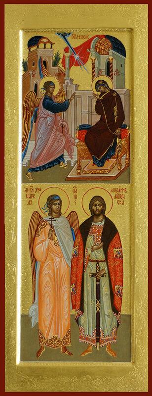 двучастная икона: благовещение, Ангел Хранитель и Михаил князь муромский