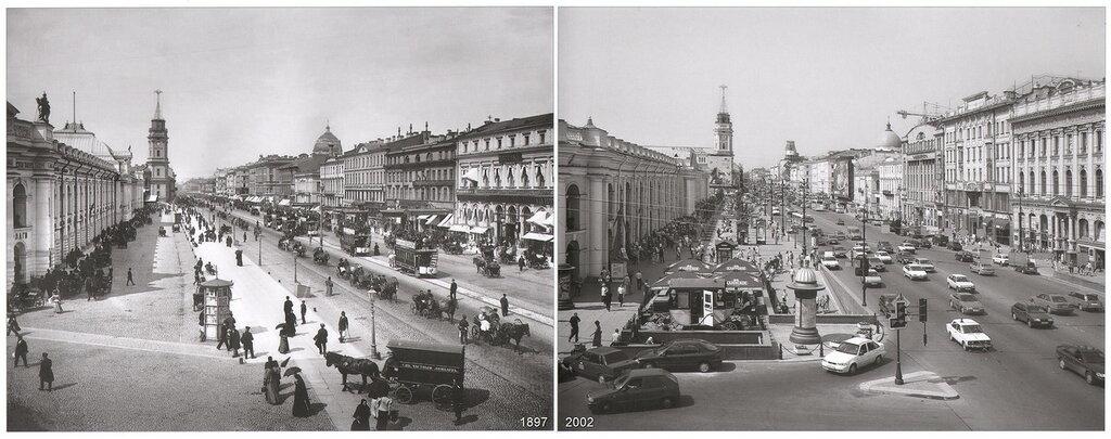 Невский проспект. Вид от Садовой улицы (1897-2002)