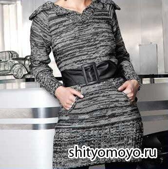 Меланжевое платье с рукавом реглан и карманами, связанное спицами. Описание бесплатно