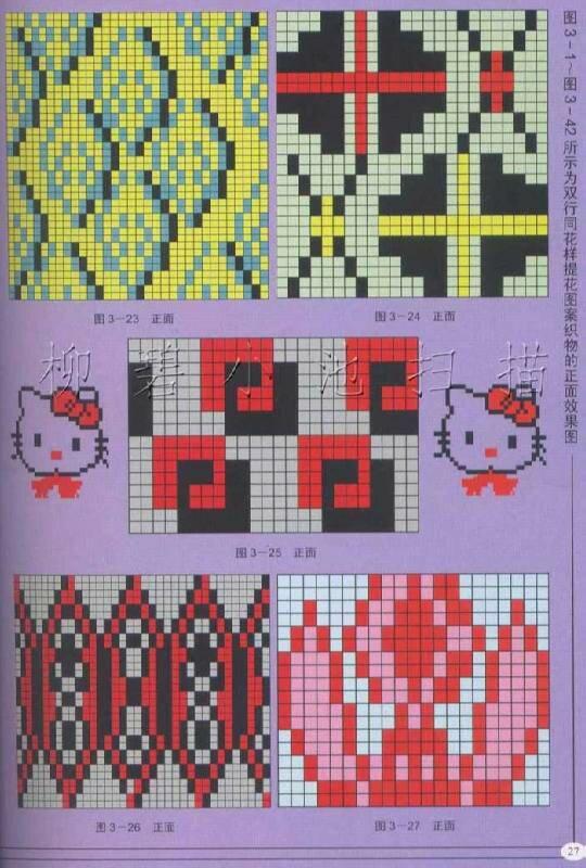 Многоцветные узоры спицами со схемами фото 171