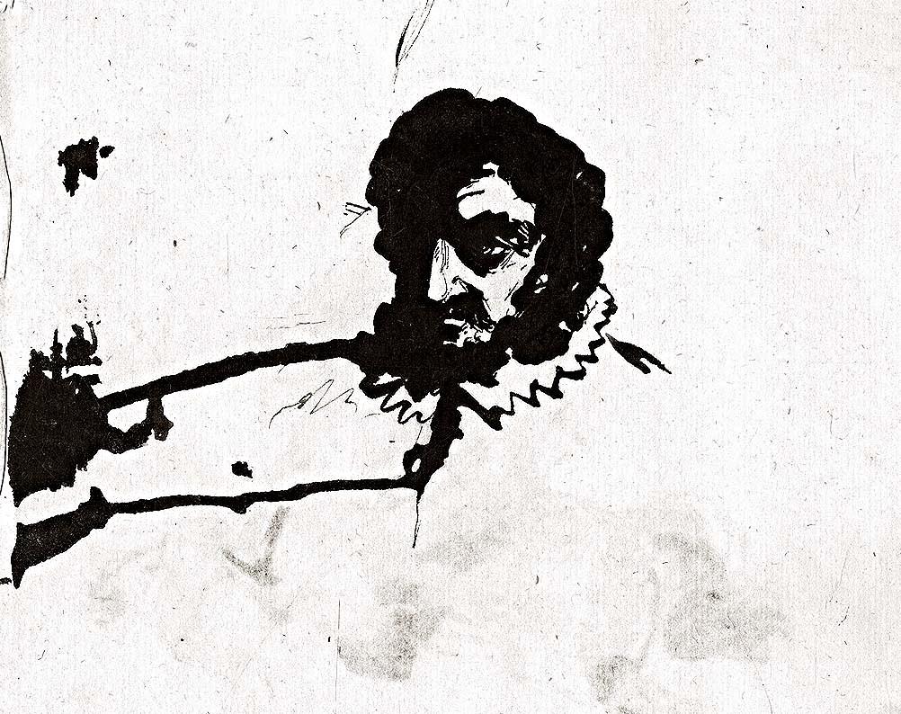 Голова мужчины в испанском воротнике. Рисунок пером. 1832.jpg
