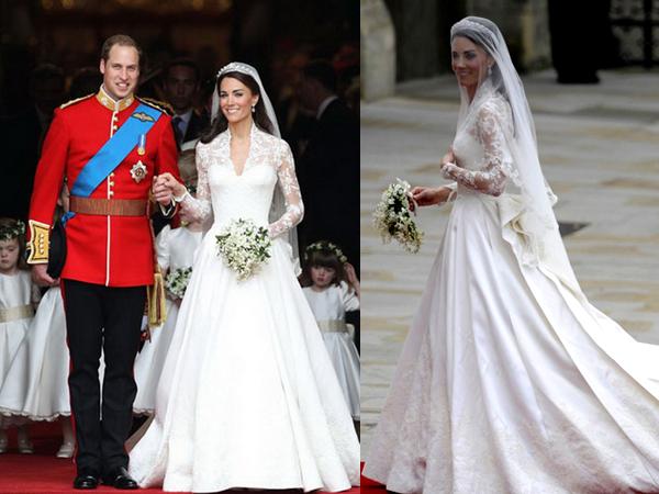 Кейт Миддлтнон в свадебном платье с принцем Уильямом
